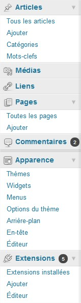 Tableau de bord Blog WordPress