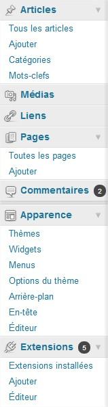 Tableau de bord Blog WordPress
