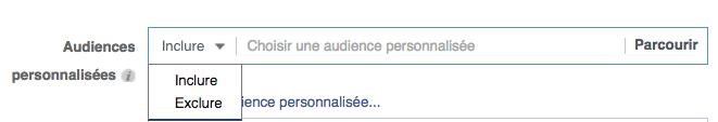 exclure audience Facebook